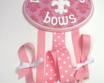 Bow Holder Pink Ribbon on Pink Damask