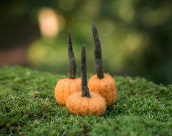 pumpkins needle felted handmade wool trio gold #002