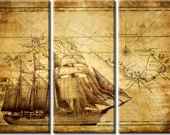 Framed Huge 3-Panel Adventure Ocean Sailing Vintage Map Canvas Art Print - Ready to Hang