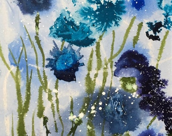 Blue Flowers abstract Original painting
