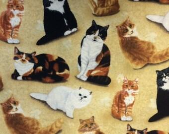 Wilmington Prints FELINE FINE (Tan) 100% Premium Quality Cotton Quilt Fabric-Per 1/2 yd