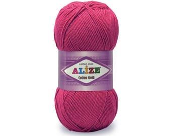 Cotton Gold Alize Crochet yarn Yarn for knitting Hypoallergenic yarn Summer yarn Hand knit yarn Color choice Cotton-Acrylic yarn Soft yarn