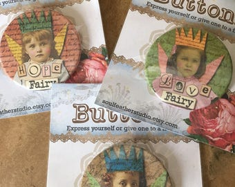 QUIRKY FAIRY Buttons•Gift Buttons•Best Friend Gift•Gag Gift