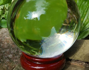 Large 130 MM Real Clear Quartz Crystal Ball,stand and how to read a crystal ball directions