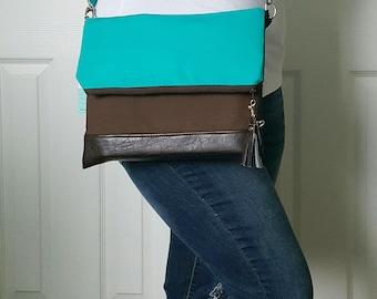 Teal Crossbody Bag, Crossbody Purse, Brown Crossbody, Crossbody Strap, Brown Faux Leather, Clutch Bag, Crossbody Handbag, Mothers day gift
