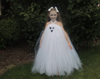The Hair Bow Factory White Ghost Halloween Tutu Dress Size 12-24 Months to Size 12