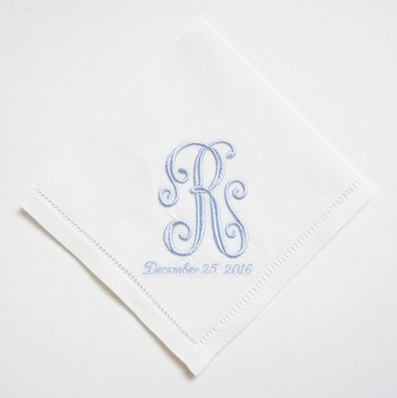 Custom Ladies Embroidered Monogrammed Handkerchiefs, Choice of Beautiful Lace Trims or Hemstitched Handkerchiefs