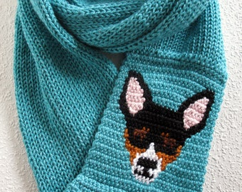 Rat Terrier Infinity scarf. Turquoise blue knit scarf with a tricolor rat terrier dog. Long knitted cowl scarf. Rat terrier gift