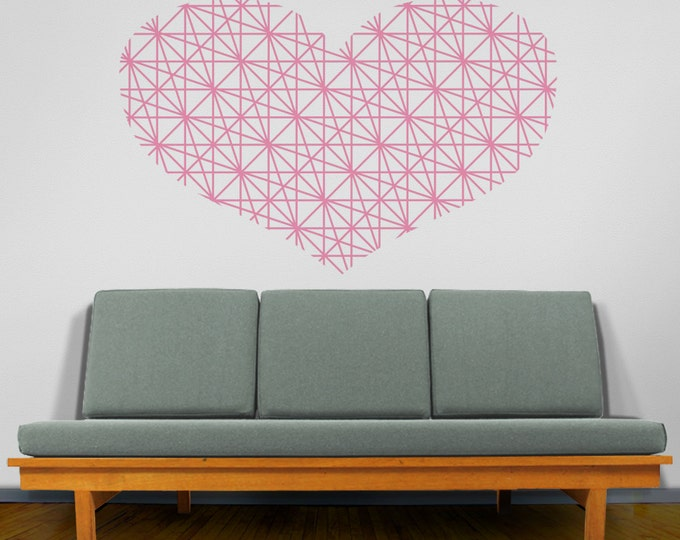Heart vinyl wall decal, Geometric Heart Wall Decal, Love Wall Sticker, Heart Sticker, FREE SHIPPING