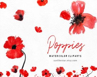 Watercolor Poppy Clipart, wreath clipart, red floral clipart, poppy flowers clipart, poppies clipart, wedding clipart, diy invite clipart