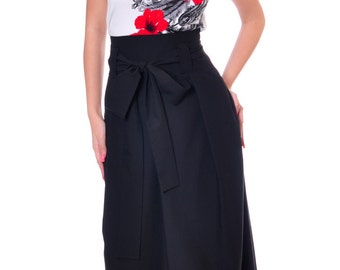 Plus Size Maxi Skirt, Black Wool Skirt, High Waisted Skirt, Long Skirt, Skirt Ribbon Belt, Formal Skirt, Party Maxi Skirt, Danellys D14.03.4