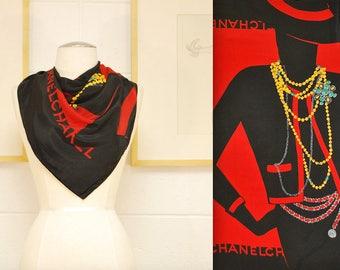 Vintage CHANEL Silk Scarf / Fashionista / Retro Collectable Rare