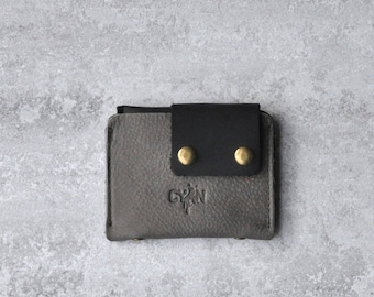 Leather Coin Pouch, Change Purse, Gray Leather Men Wallet, For Him & Her, Front Pocket Wallet, Gift Idea
