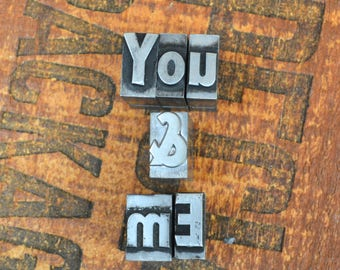 You & Me - Vintage letterpress metal type - Valentine's day gift - wedding, anniversary, love, girlfriend, boyfriend, industrial TS1022
