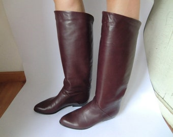 Genuine Vintage Boots gr 38 Leather boots eggplant Purple leather Nina CORRENTE