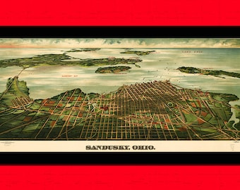 Old Map of Sandusky ohio Old map Art Reproduction Office decoration Vintage Retro Map Reproduction Vintage Map Reproductiont