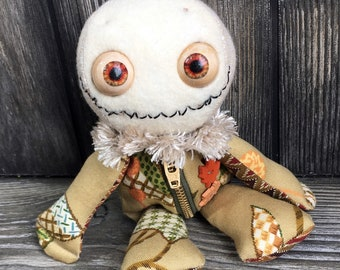 """10"""" scarecrow doll moving eye  zipper tummy feed sack baby by Karen Knapp of Tindle Bears"""