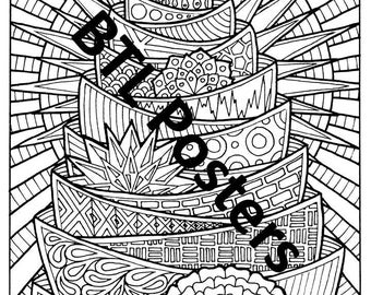 Abstract Printable Colouring Poster 3