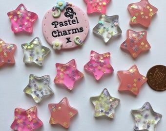 Pack of 5 mixed colour glitter star embellishments