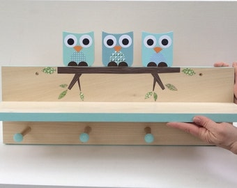 Blue Owl Clothing Rack and Shelf,  Wall Coat Rack, Woodland Nursery, Woodland Kids Decor, Blue, Aqua, Woodland Themed Nursery