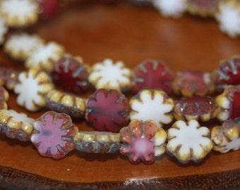 Czech Glass Beads, Cactus Flower Beads, 25 Beads