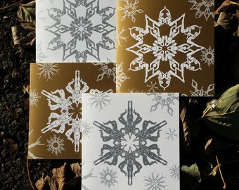 8 'Swimflakes' Christmas or greetings cards. Optical illusion - synchronised swimmer snowflakes
