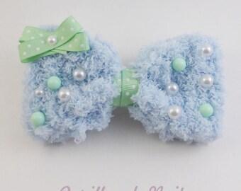 Fuzzy Baby Blue Hair Bow - Mint Dot - 2 way hair clip brooch pin