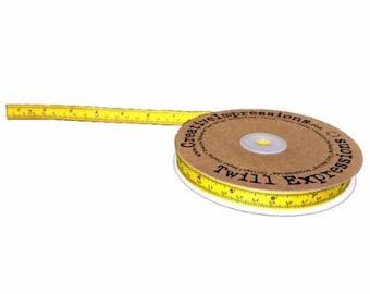 TRIM BACK to SCHOOL Ruler Twill Tape Yellow Measure Ribbon  1 Yard
