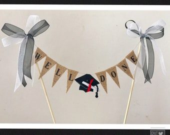 Graduation cake topper, well done cake banner with mortar board and scroll for celecration cake
