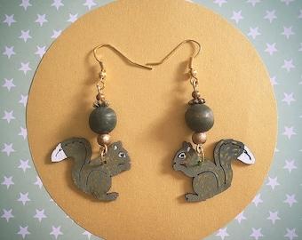 Green wooden squirrel earrings