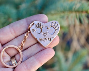 Mother Keychain, Handprint Keychain, Real Handprints, Mother's Day Gift, Children's Real Handprints, Gift for Mom, Mothers Day Gifts, Mom