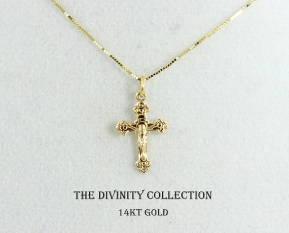 Solid 14kt gold crucifix cross necklace women girls small like this item mozeypictures Image collections
