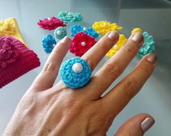 Round Crochet handmade ring, Jewelry, Knit ring, Handmade, Cotton, Green, Yellow, Rose, Blue