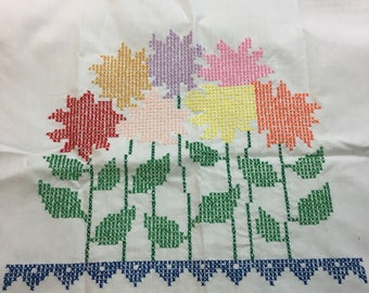 """Vintage Completed Counted Cross Stitch Floral Design on White Fabric 18.75"""" by 33.25"""" the Design is 14"""" Wide 11.5"""" Long"""
