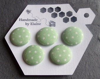 Fabric Covered Buttons - 5 x 22mm Buttons, Handmade Button, Pastel Pale Chalky Green Sage Apple Spearmint Tiny Micro White Star Buttons 2637