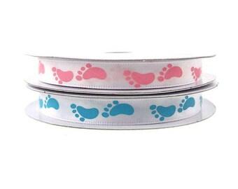 "Baby Footprint Satin Ribbon 3/8"" 10YARD . It's a Boy, It's a girl ribbon, Baby Shower Ribbon, gift wrap, sewing supplies."