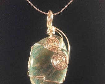 Green Jasper wire-wrapped pendant