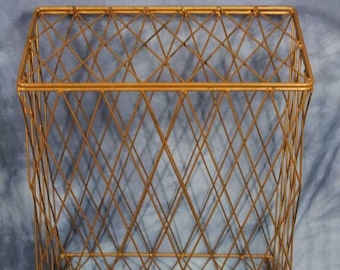 "Vintage 26"" Mid Century Modern Green Wire Laundry Hamper Basket, Retro Home"