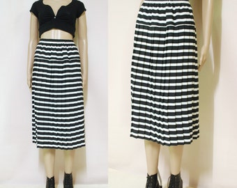 Vintage 80s Striped Skirt Accordion High Waist Medium Length Retro Black and White Vtg 1980s Size S-M