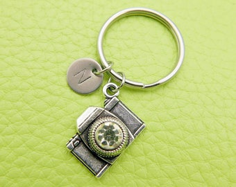 Camera initial Keychain personnalized stainless steel Keyring