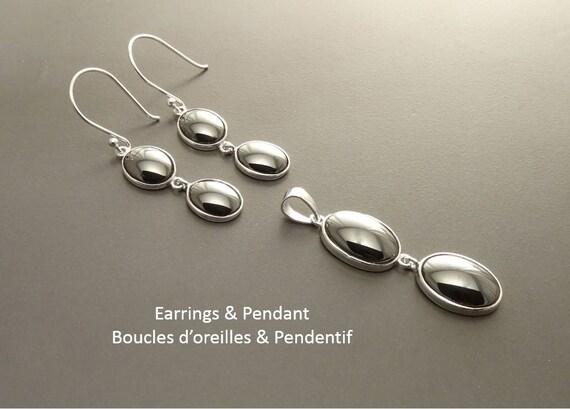 NATURAL Hematite Earrings Set,Sterling Silver 925 NOT-DYED Hematite Gemstone Minimalist Pendant Real Dark Gray Hematite Stone Modern Jewelry