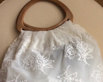 Vintage lace and wooden handle bag