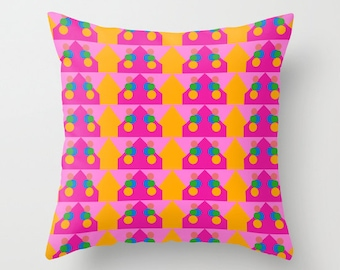 Orange Pattern, Pillow Cover, 16x16,18x18,20x20,home decoration,interior design,colorful,kids decor,Modern Living,Mosaic,Contemporary Decor