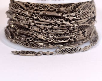 Tribal Filigree Chain - Antique Silver - CH106 - Choose Your Length