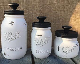 Set of 3 Mason Jar Canisters