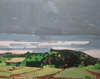 Black Hill, Original Plein Air Autumn Landscape Painting on Panel, Ready to Hang, Stooshinoff