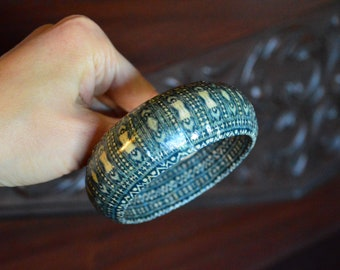 bohemian papier mache gray bangle bracelet
