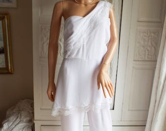 White chiffon lace jumpsuit Wedding jumpsuit Evening jumpsuit  Bridal lace jumpsuit White lace pants suit Unworn white jumpsuit Large size