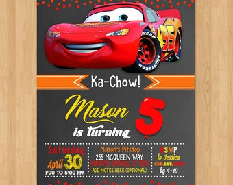 Disney Cars Invite Chalkboard Red and Pink Cars Birthday