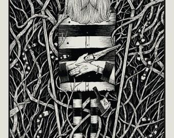 Get Low Coffin black/white screen print